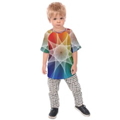 Abstract Star Pattern Structure Kids Raglan Tee