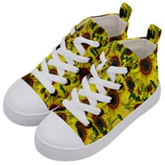 Sun Flower Pattern Background Kid s Mid Top Canvas Sneakers by Celenk