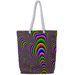 Fractal Background Pattern Color Full Print Rope Handle Tote (small)