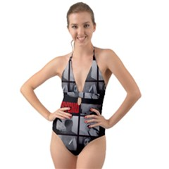 Psycho  Halter Cut Out One Piece Swimsuit