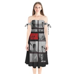 Psycho  Shoulder Tie Bardot Midi Dress by Valentinaart