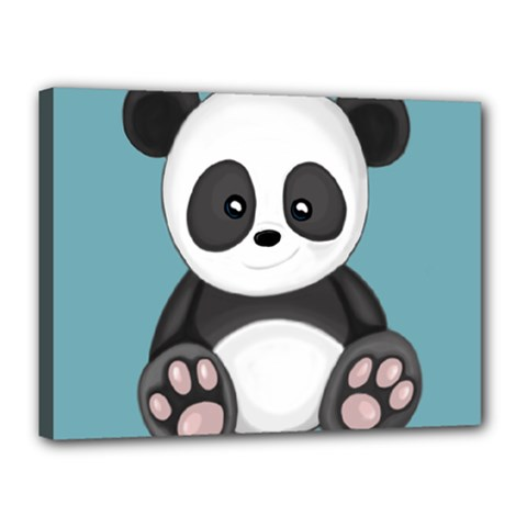 Cute Panda Canvas 16  X 12  by Valentinaart