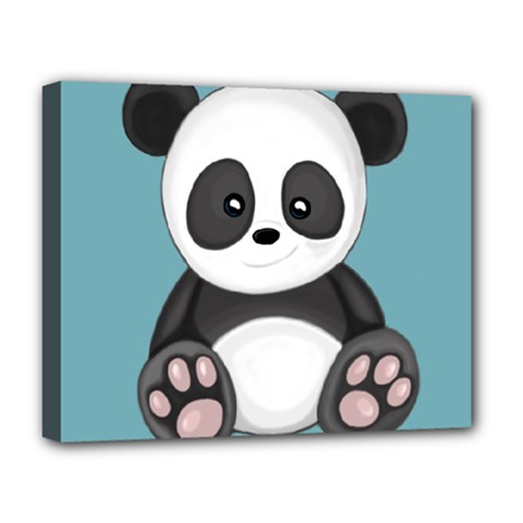 Cute Panda Deluxe Canvas 20  X 16   by Valentinaart