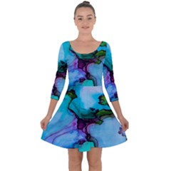 Abstract Painting Art Quarter Sleeve Skater Dress
