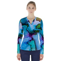 Abstract Painting Art V Neck Long Sleeve Top