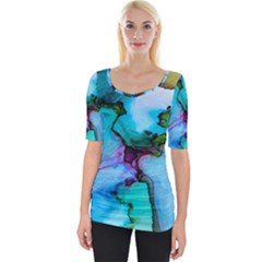 Abstract Painting Art Wide Neckline Tee by Celenk