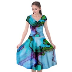 Abstract Painting Art Cap Sleeve Wrap Front Dress