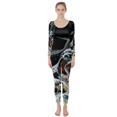 Abstract Flow River Black Long Sleeve Catsuit by Celenk