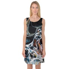 Abstract Flow River Black Sleeveless Satin Nightdress by Celenk