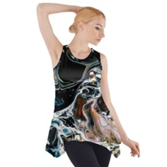 Abstract Flow River Black Side Drop Tank Tunic by Celenk