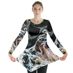Abstract Flow River Black Long Sleeve Tunic  by Celenk