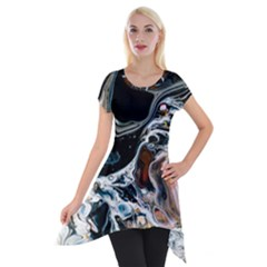 Abstract Flow River Black Short Sleeve Side Drop Tunic