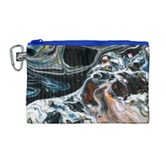 Abstract Flow River Black Canvas Cosmetic Bag (large) by Celenk