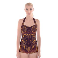 Lion Wild Animal Abstract Boyleg Halter Swimsuit