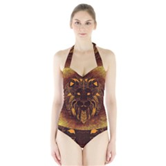Lion Wild Animal Abstract Halter Swimsuit