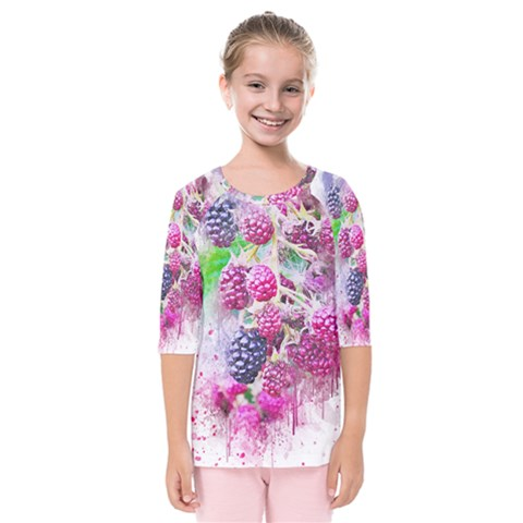 Blackberry Fruit Art Abstract Kids  Quarter Sleeve Raglan Tee by Celenk