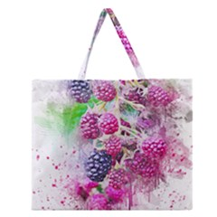 Blackberry Fruit Art Abstract Zipper Large Tote Bag