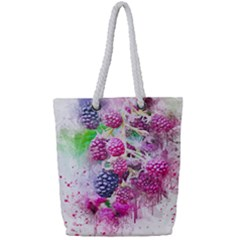 Blackberry Fruit Art Abstract Full Print Rope Handle Tote (small) by Celenk