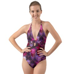 Cube Surface Texture Background Halter Cut Out One Piece Swimsuit