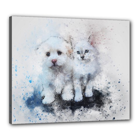 Cat Dog Cute Art Abstract Canvas 24  X 20  by Celenk