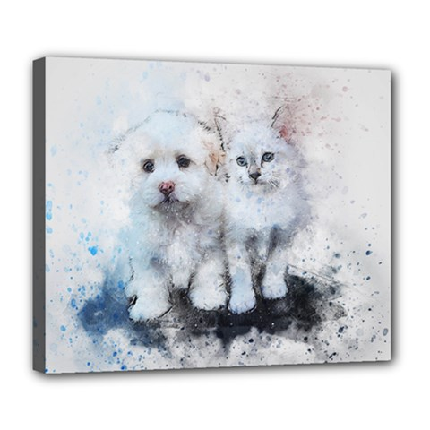 Cat Dog Cute Art Abstract Deluxe Canvas 24  X 20   by Celenk