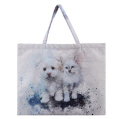 Cat Dog Cute Art Abstract Zipper Large Tote Bag by Celenk