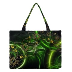 Flora Entwine Fractals Flowers Medium Tote Bag by Celenk