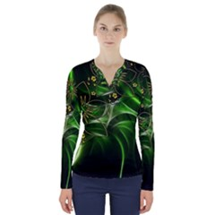 Flora Entwine Fractals Flowers V Neck Long Sleeve Top