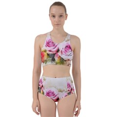 Flower Roses Art Abstract Racer Back Bikini Set
