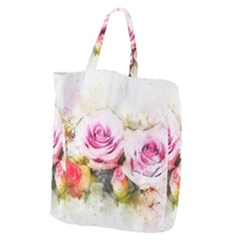 Flower Roses Art Abstract Giant Grocery Zipper Tote
