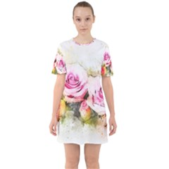 Flower Roses Art Abstract Sixties Short Sleeve Mini Dress