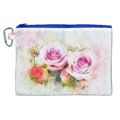 Flower Roses Art Abstract Canvas Cosmetic Bag (xl) by Celenk