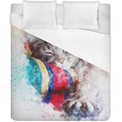 Cat Kitty Animal Art Abstract Duvet Cover (california King Size) by Celenk