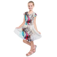 Cat Kitty Animal Art Abstract Kids  Short Sleeve Dress by Celenk