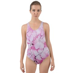 Flower Pink Art Abstract Nature Cut Out Back One Piece Swimsuit