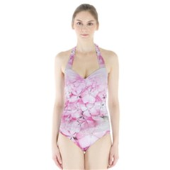 Flower Pink Art Abstract Nature Halter Swimsuit