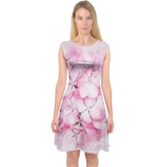 Flower Pink Art Abstract Nature Capsleeve Midi Dress