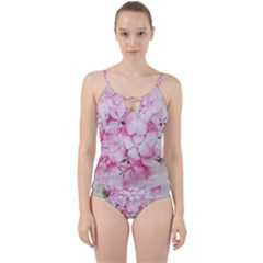 Flower Pink Art Abstract Nature Cut Out Top Tankini Set