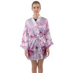 Flower Pink Art Abstract Nature Long Sleeve Kimono Robe