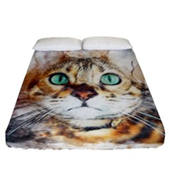 Cat Animal Art Abstract Watercolor Fitted Sheet (queen Size) by Celenk