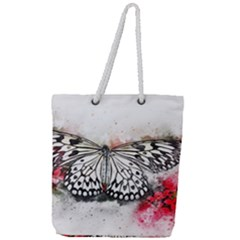 Butterfly Animal Insect Art Full Print Rope Handle Tote (large)