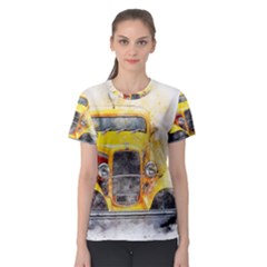 Car Old Art Abstract Women s Sport Mesh Tee by Celenk