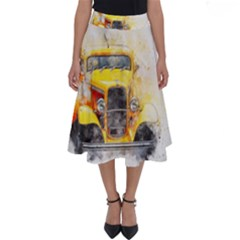 Car Old Art Abstract Perfect Length Midi Skirt