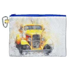 Car Old Art Abstract Canvas Cosmetic Bag (xl) by Celenk
