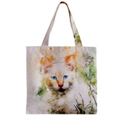 Cat Animal Art Abstract Watercolor Zipper Grocery Tote Bag by Celenk