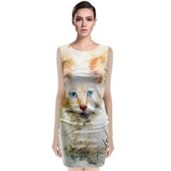 Cat Animal Art Abstract Watercolor Classic Sleeveless Midi Dress