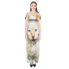 Cat Animal Art Abstract Watercolor Short Sleeve Maxi Dress by Celenk