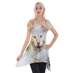 Cat Animal Art Abstract Watercolor Short Sleeve Side Drop Tunic by Celenk