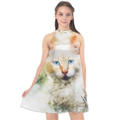 Cat Animal Art Abstract Watercolor Halter Neckline Chiffon Dress