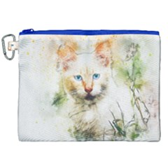 Cat Animal Art Abstract Watercolor Canvas Cosmetic Bag (xxl) by Celenk
